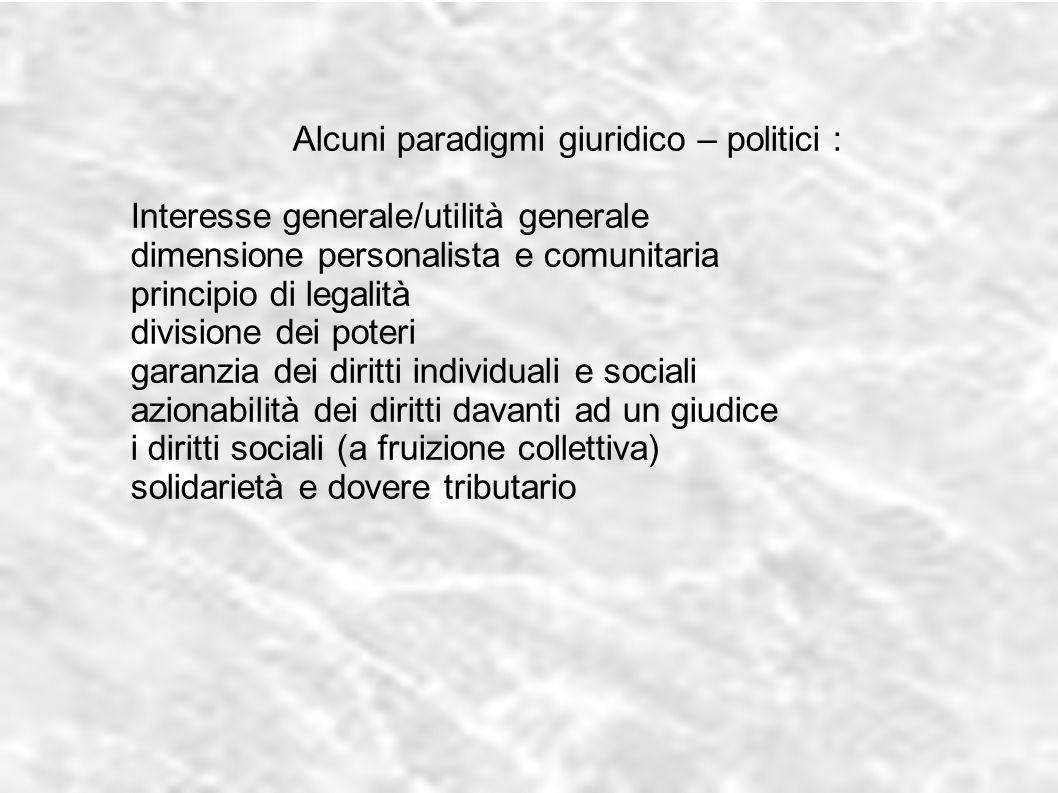 Alcuni paradigmi giuridico – politici : Interesse generale/utilità generale dimensione personalista e comunitaria principio di legalità divisione dei