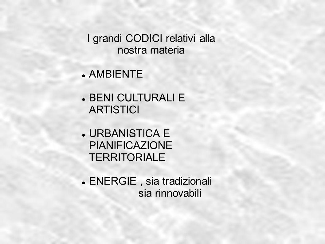 I grandi CODICI relativi alla nostra materia AMBIENTE BENI CULTURALI E ARTISTICI URBANISTICA E PIANIFICAZIONE TERRITORIALE ENERGIE, sia tradizionali s