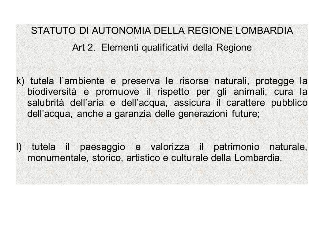 STATUTO DI AUTONOMIA DELLA REGIONE LOMBARDIA Art 2. Elementi qualificativi della Regione k) tutela lambiente e preserva le risorse naturali, protegge