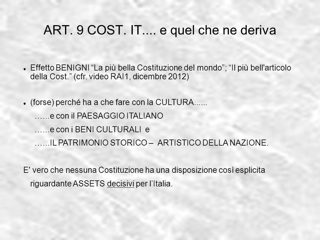 ART. 9 COST. IT.... e quel che ne deriva Effetto BENIGNI La più bella Costituzione del mondo; Il più bell'articolo della Cost. (cfr. video RAI1, dicem