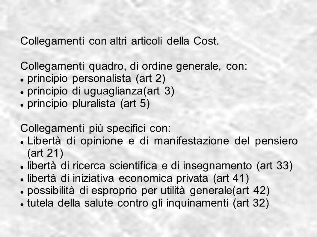 Collegamenti con altri articoli della Cost. Collegamenti quadro, di ordine generale, con: principio personalista (art 2) principio di uguaglianza(art