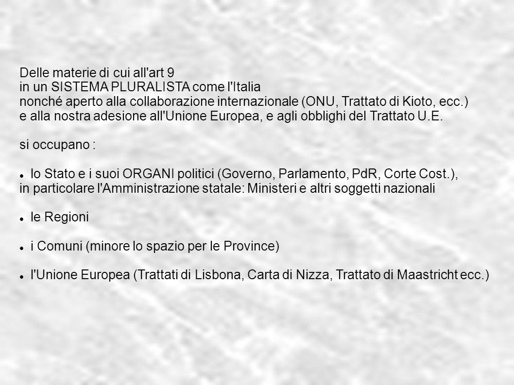 Delle materie di cui all'art 9 in un SISTEMA PLURALISTA come l'Italia nonché aperto alla collaborazione internazionale (ONU, Trattato di Kioto, ecc.)