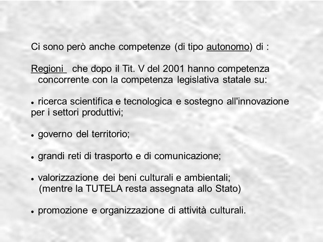 Ci sono però anche competenze (di tipo autonomo) di : Regioni che dopo il Tit. V del 2001 hanno competenza concorrente con la competenza legislativa s