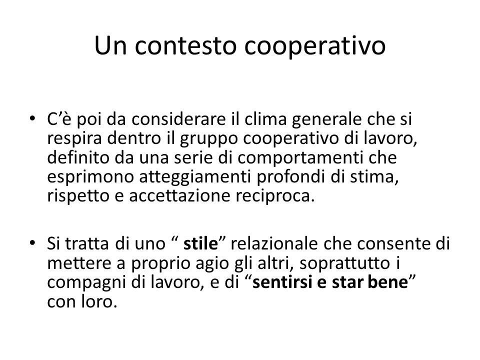 Un contesto cooperativo Cè poi da considerare il clima generale che si respira dentro il gruppo cooperativo di lavoro, definito da una serie di compor