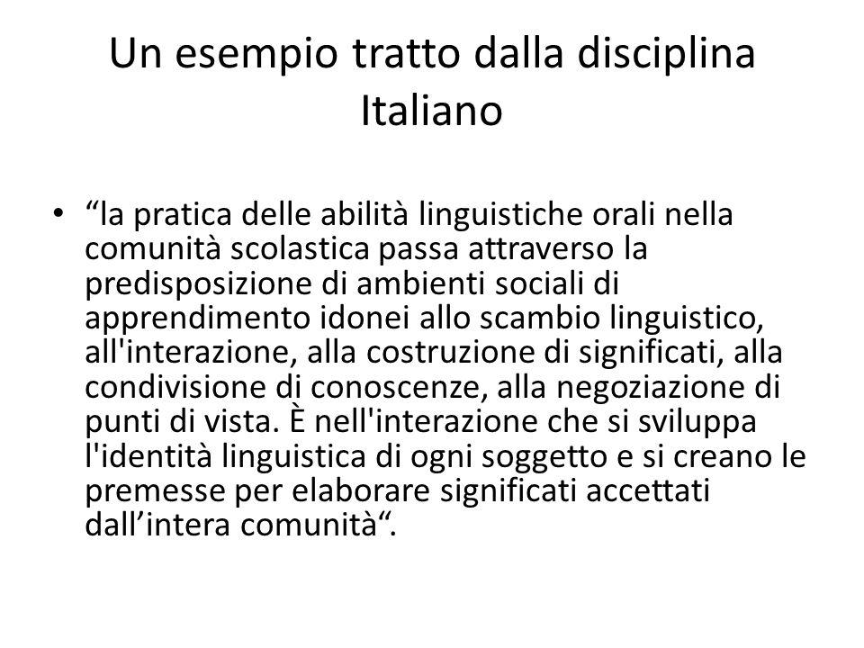 Un esempio tratto dalla disciplina Italiano la pratica delle abilità linguistiche orali nella comunità scolastica passa attraverso la predisposizione