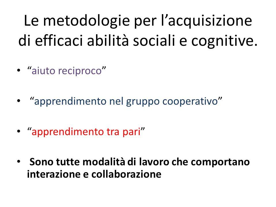 Le metodologie per lacquisizione di efficaci abilità sociali e cognitive. aiuto reciproco apprendimento nel gruppo cooperativo apprendimento tra pari