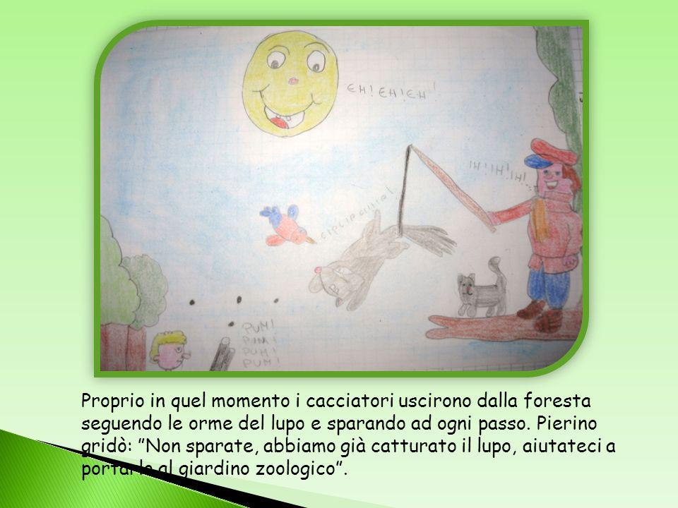 Con la complicità del gatto e delluccellino Pierino riuscì a catturare il lupo legandolo per la coda.