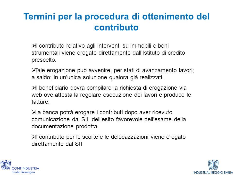 Termini per la procedura di ottenimento del contributo Il contributo relativo agli interventi su immobili e beni strumentali viene erogato direttamente dallIstituto di credito prescelto.