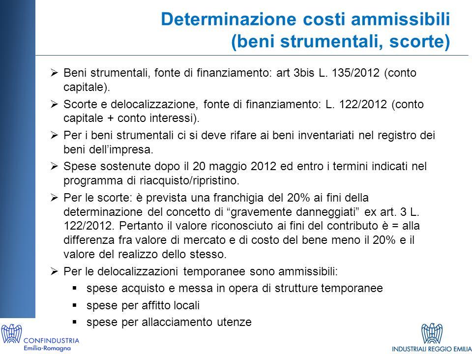 Determinazione costi ammissibili (beni strumentali, scorte) Beni strumentali, fonte di finanziamento: art 3bis L.