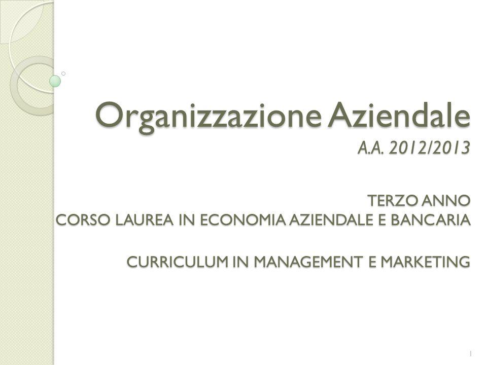 Organizzazione Aziendale A.A. 2012/2013 TERZO ANNO CORSO LAUREA IN ECONOMIA AZIENDALE E BANCARIA CURRICULUM IN MANAGEMENT E MARKETING 1