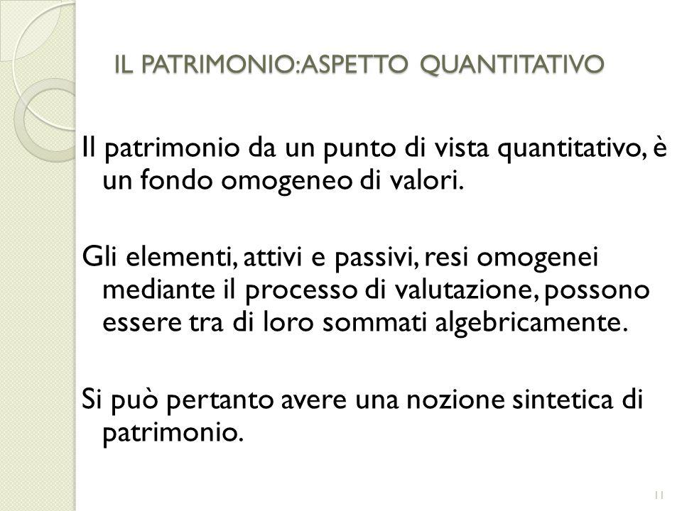 IL PATRIMONIO:ASPETTO QUANTITATIVO Il patrimonio da un punto di vista quantitativo, è un fondo omogeneo di valori. Gli elementi, attivi e passivi, res