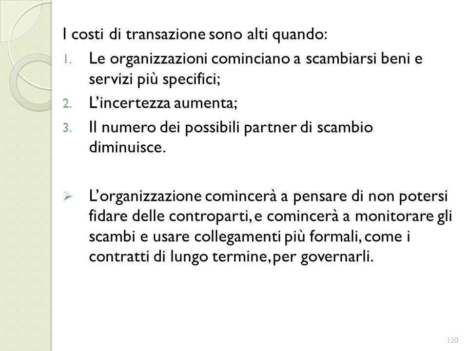 I costi di transazione sono alti quando: 1. Le organizzazioni cominciano a scambiarsi beni e servizi più specifici; 2. Lincertezza aumenta; 3. Il nume