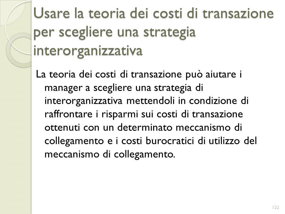 Usare la teoria dei costi di transazione per scegliere una strategia interorganizzativa La teoria dei costi di transazione può aiutare i manager a sce