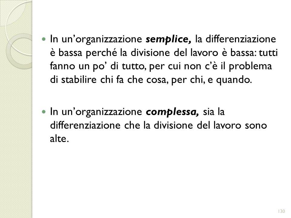 In unorganizzazione semplice, la differenziazione è bassa perché la divisione del lavoro è bassa: tutti fanno un po di tutto, per cui non cè il proble