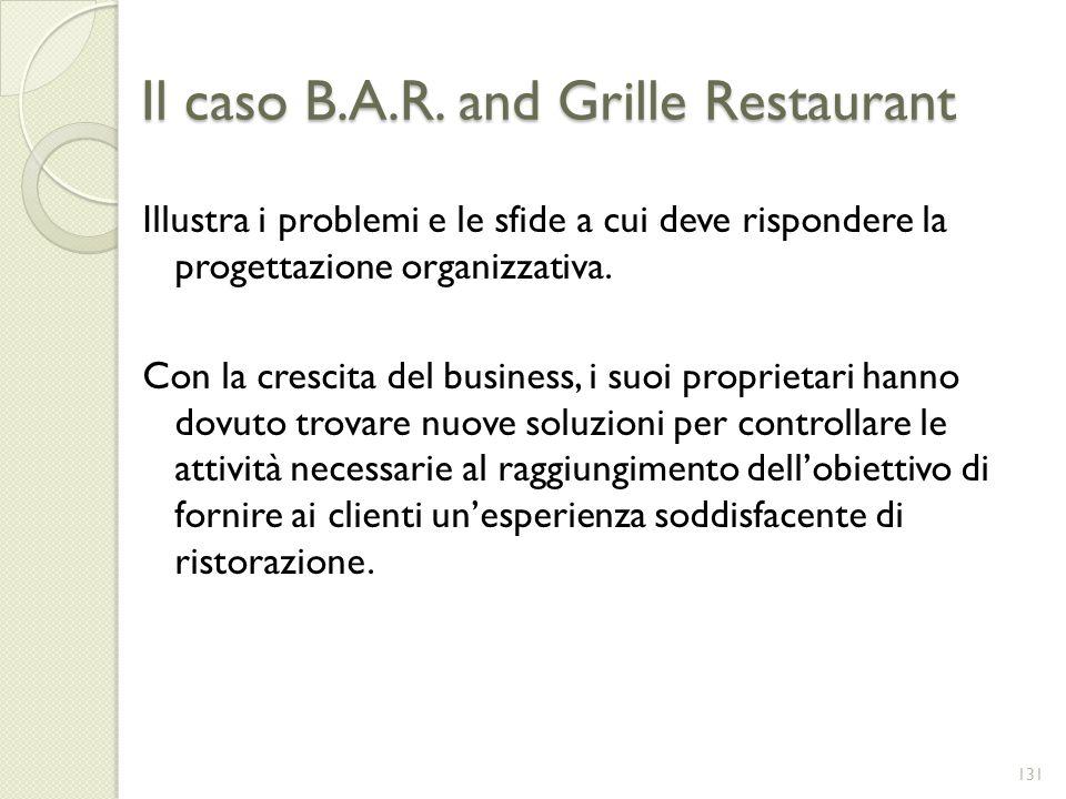 Il caso B.A.R. and Grille Restaurant Illustra i problemi e le sfide a cui deve rispondere la progettazione organizzativa. Con la crescita del business