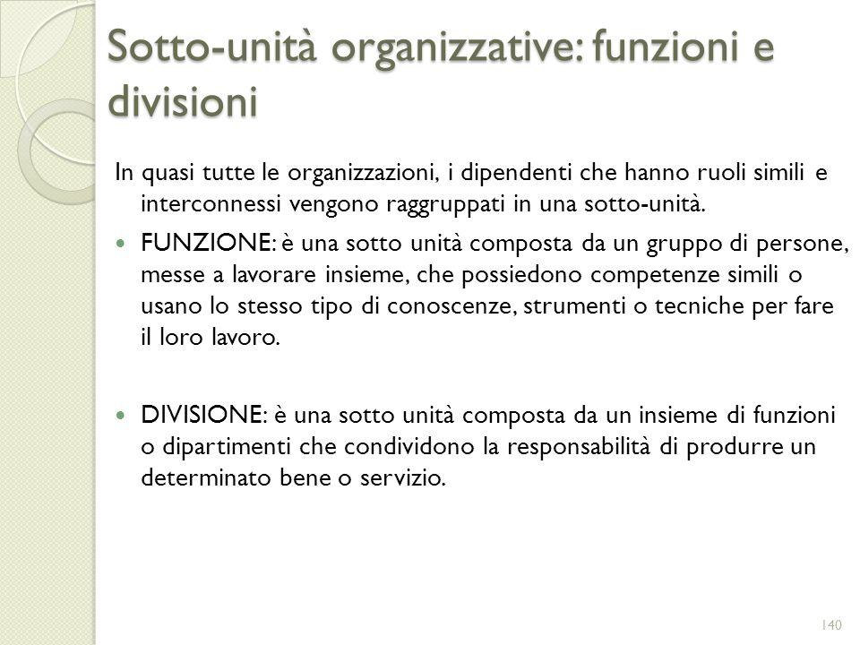 Sotto-unità organizzative: funzioni e divisioni In quasi tutte le organizzazioni, i dipendenti che hanno ruoli simili e interconnessi vengono raggrupp