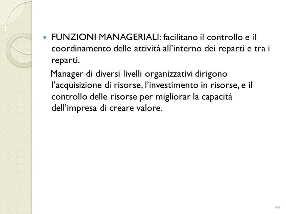 FUNZIONI MANAGERIALI: facilitano il controllo e il coordinamento delle attività allinterno dei reparti e tra i reparti. Manager di diversi livelli org