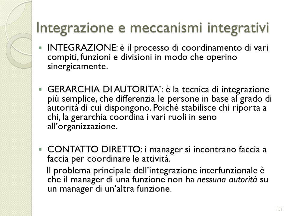 Integrazione e meccanismi integrativi INTEGRAZIONE: è il processo di coordinamento di vari compiti, funzioni e divisioni in modo che operino sinergica