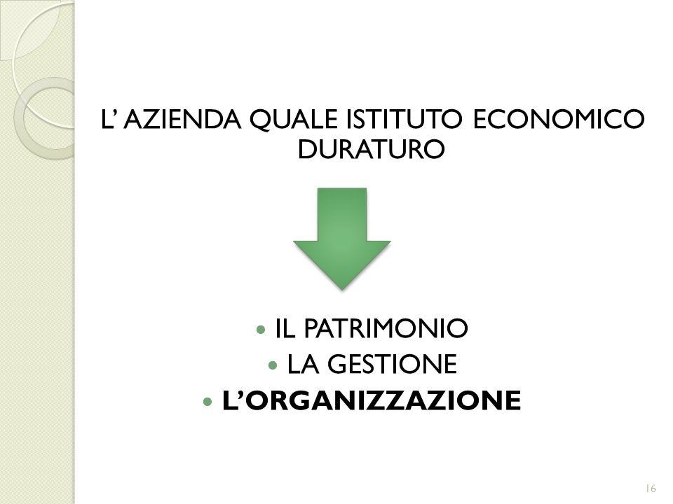 L AZIENDA QUALE ISTITUTO ECONOMICO DURATURO IL PATRIMONIO LA GESTIONE LORGANIZZAZIONE 16