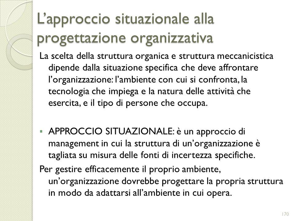 Lapproccio situazionale alla progettazione organizzativa La scelta della struttura organica e struttura meccanicistica dipende dalla situazione specif