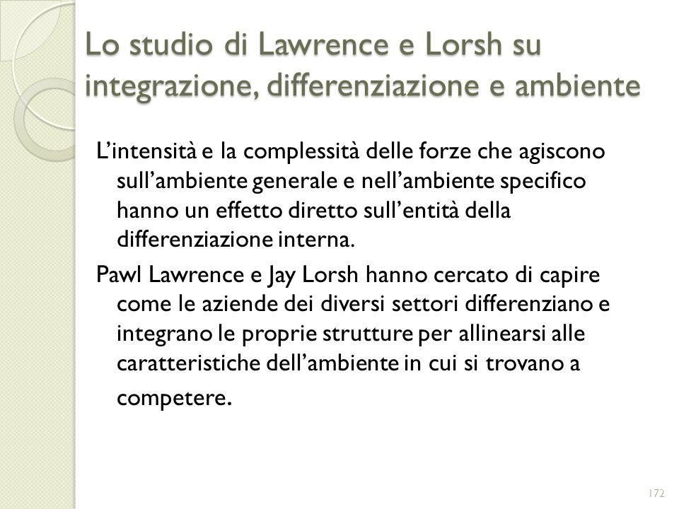 Lo studio di Lawrence e Lorsh su integrazione, differenziazione e ambiente Lintensità e la complessità delle forze che agiscono sullambiente generale