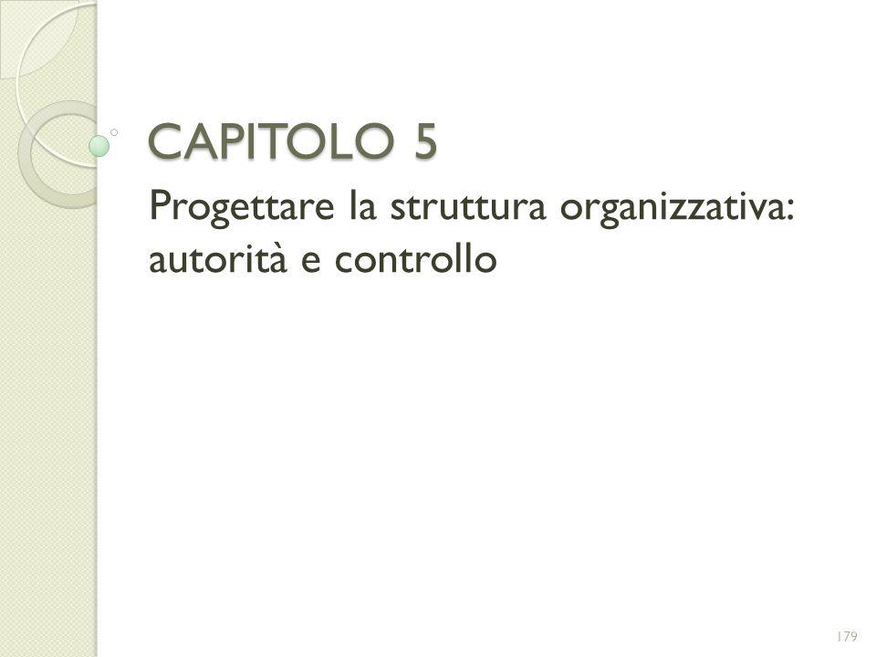 CAPITOLO 5 Progettare la struttura organizzativa: autorità e controllo 179