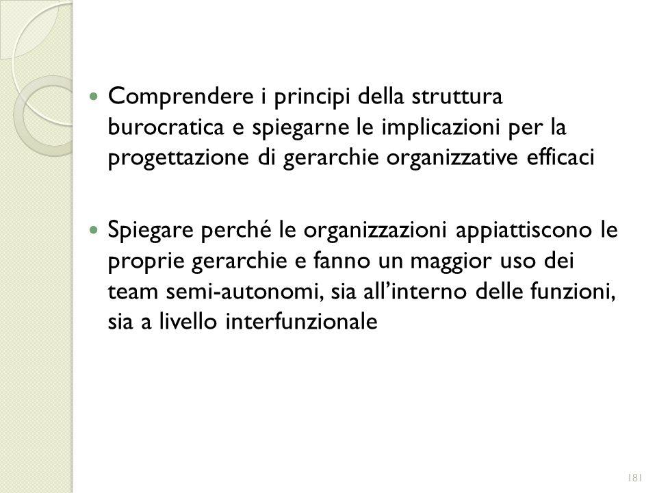 Comprendere i principi della struttura burocratica e spiegarne le implicazioni per la progettazione di gerarchie organizzative efficaci Spiegare perch