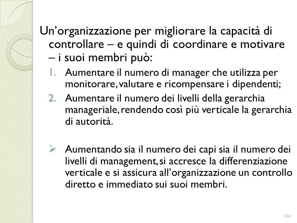 Unorganizzazione per migliorare la capacità di controllare – e quindi di coordinare e motivare – i suoi membri può: 1.Aumentare il numero di manager c
