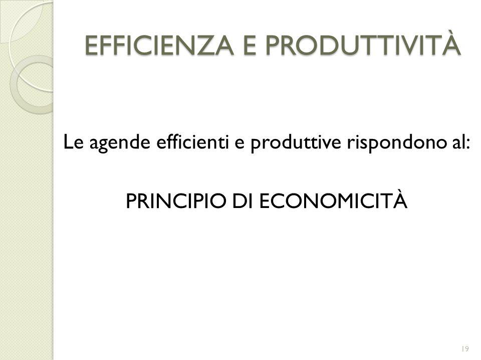 EFFICIENZA E PRODUTTIVITÀ Le agende efficienti e produttive rispondono al: PRINCIPIO DI ECONOMICITÀ 19