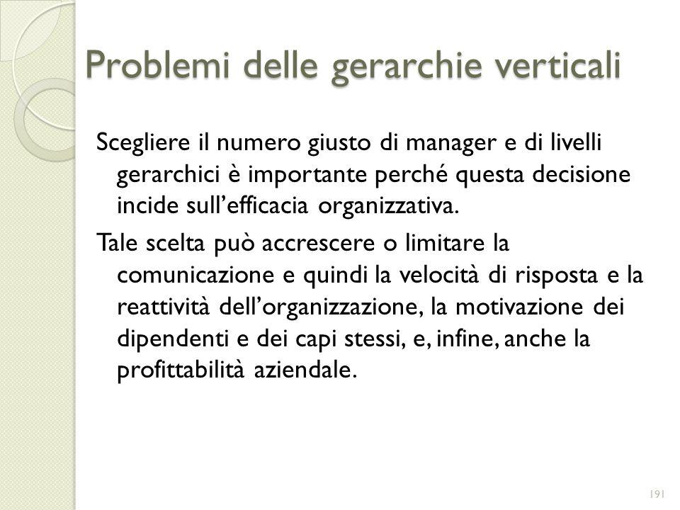 Problemi delle gerarchie verticali Scegliere il numero giusto di manager e di livelli gerarchici è importante perché questa decisione incide sulleffic