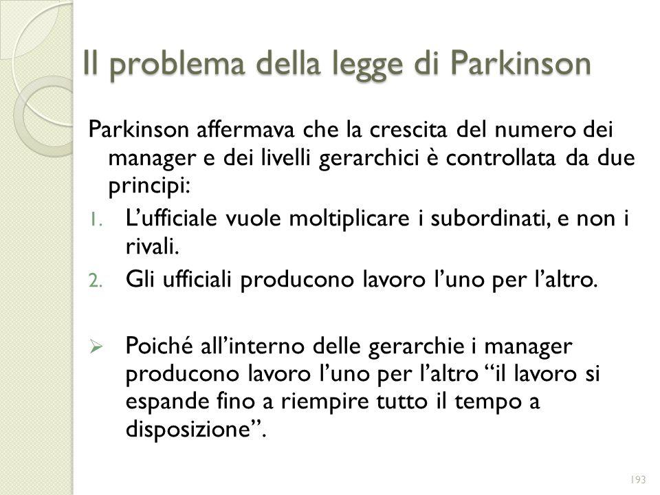 Il problema della legge di Parkinson Parkinson affermava che la crescita del numero dei manager e dei livelli gerarchici è controllata da due principi