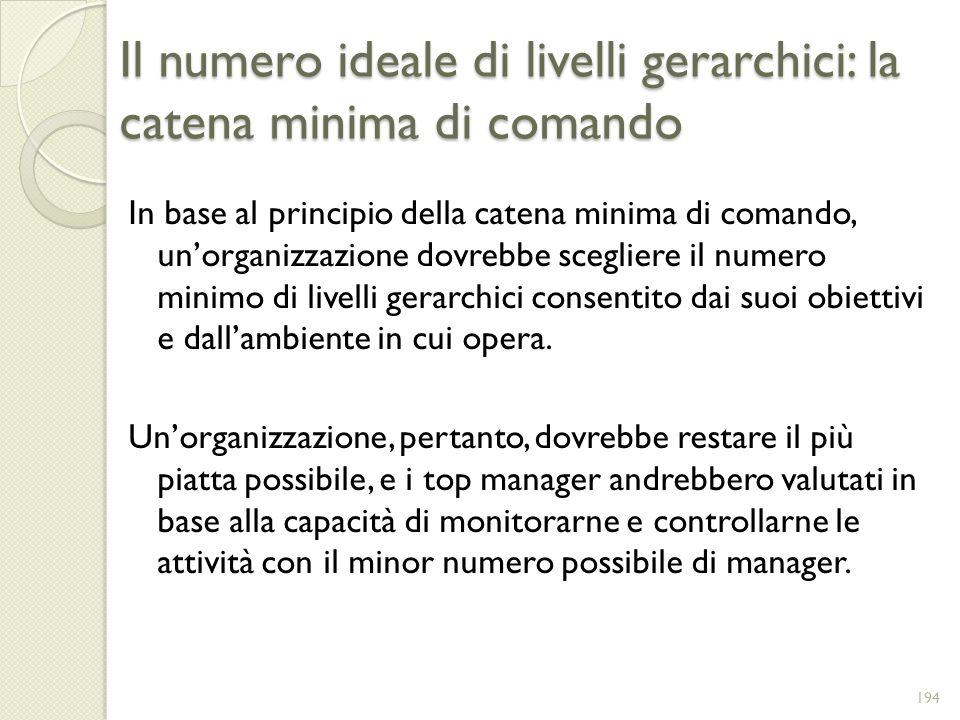 Il numero ideale di livelli gerarchici: la catena minima di comando In base al principio della catena minima di comando, unorganizzazione dovrebbe sce