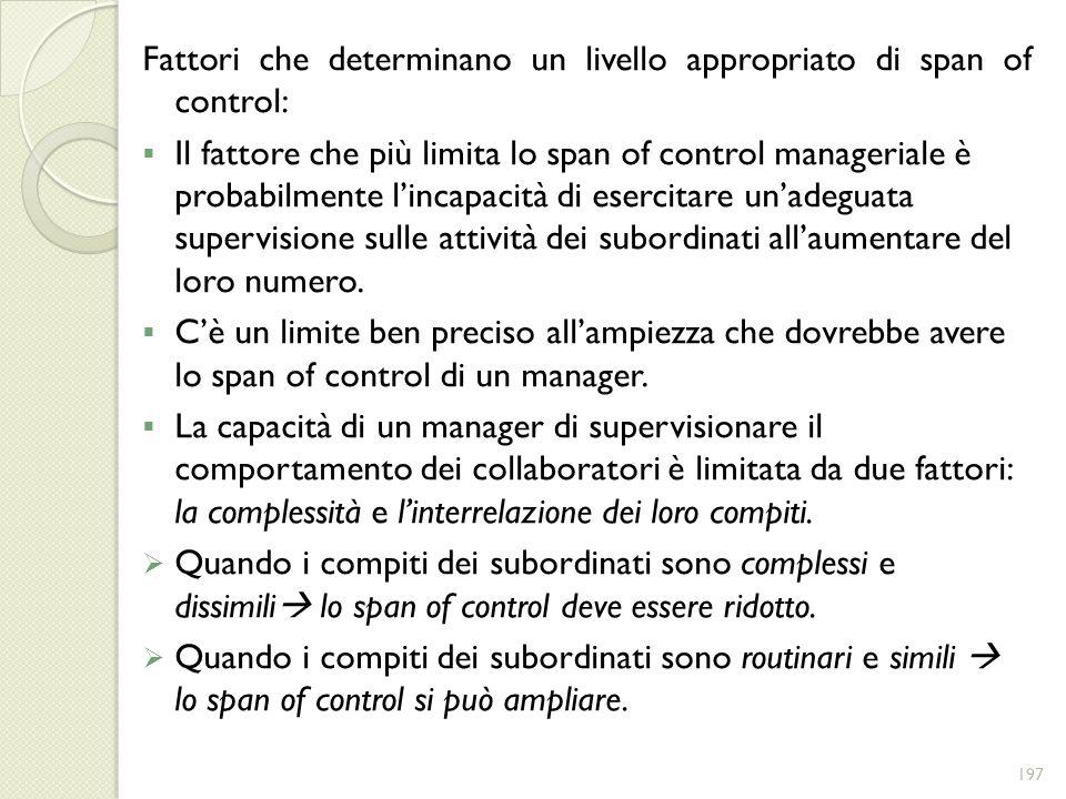 Fattori che determinano un livello appropriato di span of control: Il fattore che più limita lo span of control manageriale è probabilmente lincapacit