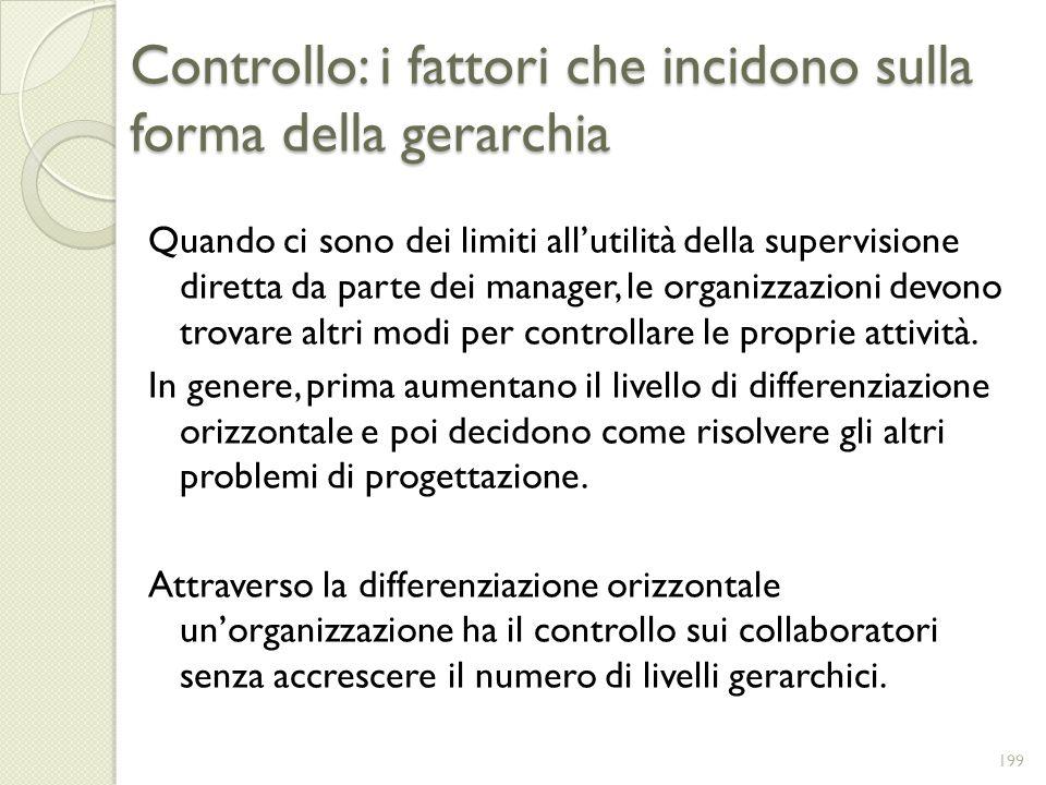 Controllo: i fattori che incidono sulla forma della gerarchia Quando ci sono dei limiti allutilità della supervisione diretta da parte dei manager, le
