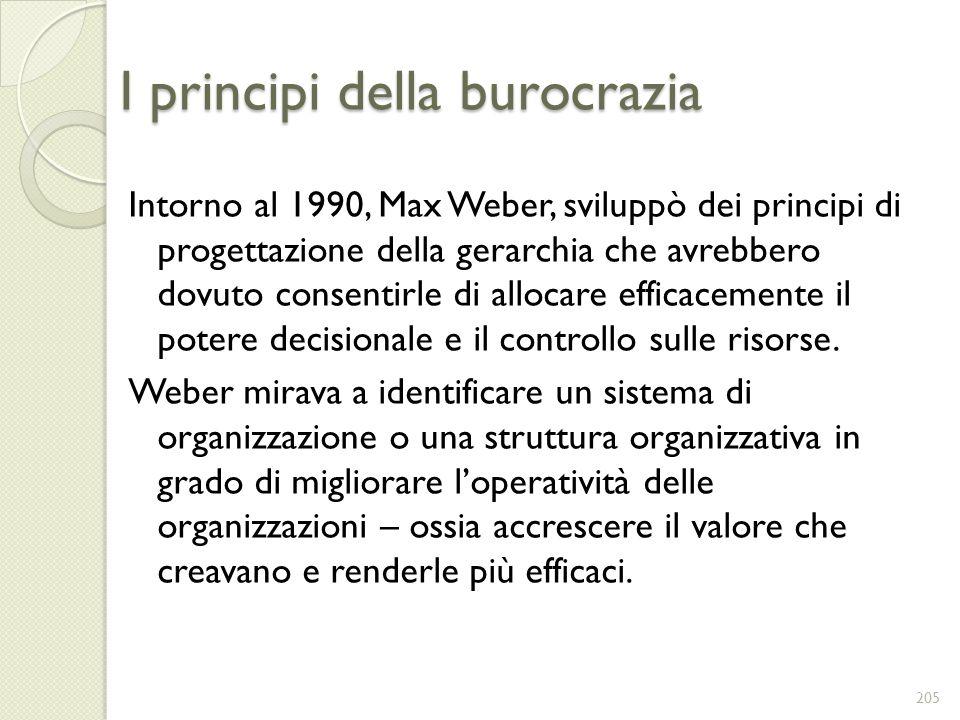 I principi della burocrazia Intorno al 1990, Max Weber, sviluppò dei principi di progettazione della gerarchia che avrebbero dovuto consentirle di all