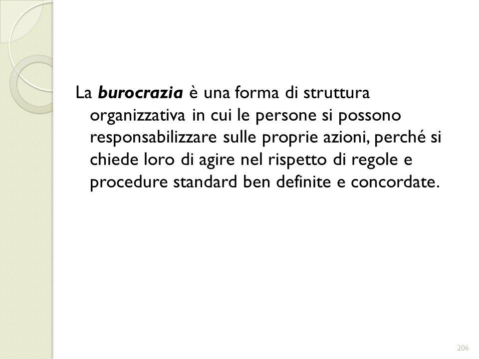 La burocrazia è una forma di struttura organizzativa in cui le persone si possono responsabilizzare sulle proprie azioni, perché si chiede loro di agi
