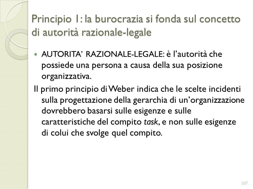 Principio 1: la burocrazia si fonda sul concetto di autorità razionale-legale AUTORITA RAZIONALE-LEGALE : è lautorità che possiede una persona a causa