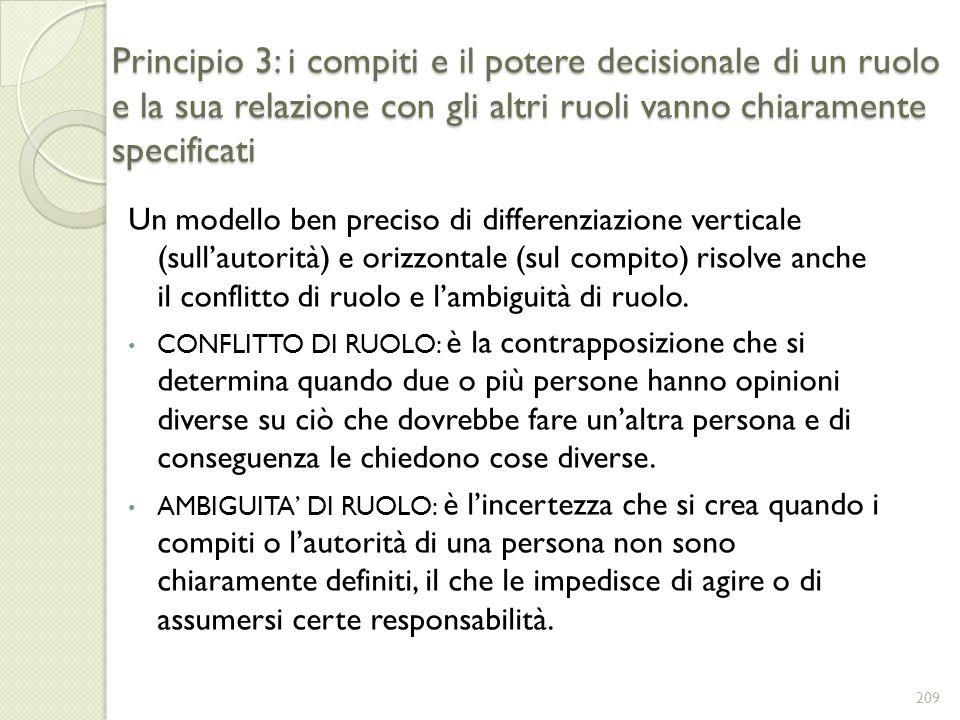 Principio 3: i compiti e il potere decisionale di un ruolo e la sua relazione con gli altri ruoli vanno chiaramente specificati Un modello ben preciso