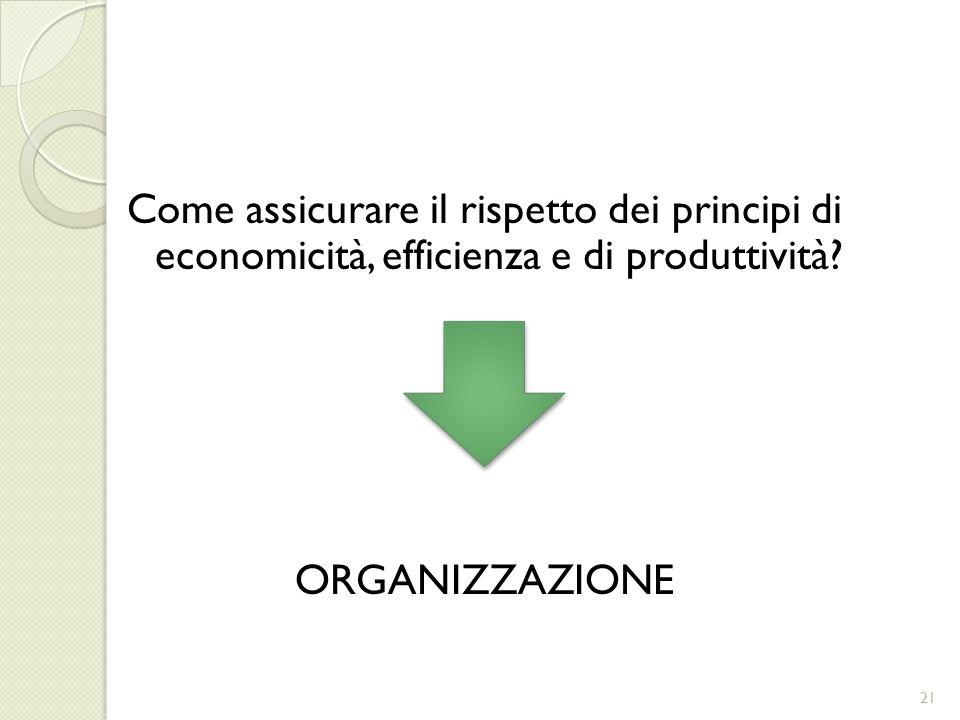 Come assicurare il rispetto dei principi di economicità, efficienza e di produttività? ORGANIZZAZIONE 21