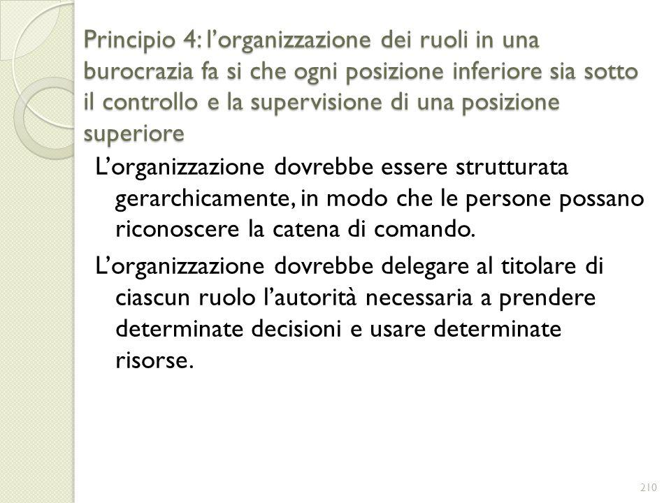 Principio 4: lorganizzazione dei ruoli in una burocrazia fa si che ogni posizione inferiore sia sotto il controllo e la supervisione di una posizione