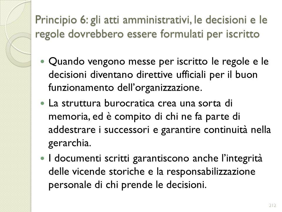 Principio 6: gli atti amministrativi, le decisioni e le regole dovrebbero essere formulati per iscritto Quando vengono messe per iscritto le regole e