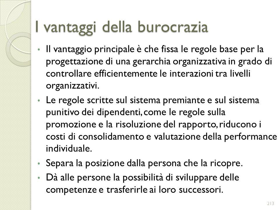 I vantaggi della burocrazia Il vantaggio principale è che fissa le regole base per la progettazione di una gerarchia organizzativa in grado di control