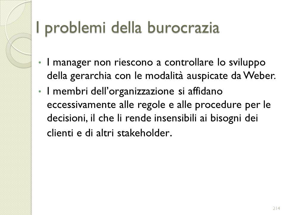 I problemi della burocrazia I manager non riescono a controllare lo sviluppo della gerarchia con le modalità auspicate da Weber. I membri dellorganizz