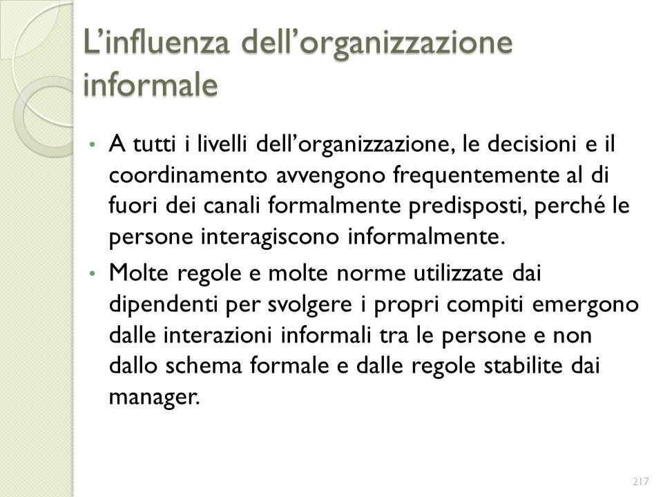 Linfluenza dellorganizzazione informale A tutti i livelli dellorganizzazione, le decisioni e il coordinamento avvengono frequentemente al di fuori dei