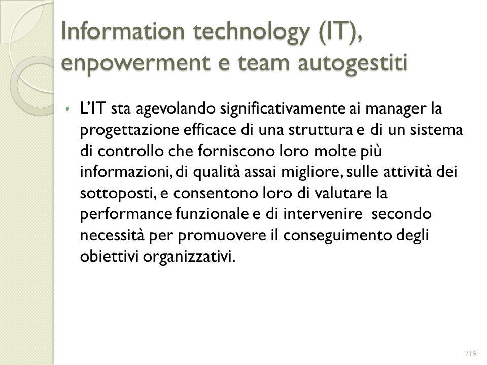 Information technology (IT), enpowerment e team autogestiti LIT sta agevolando significativamente ai manager la progettazione efficace di una struttur