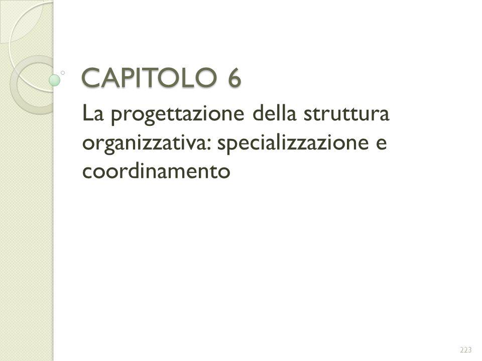 CAPITOLO 6 La progettazione della struttura organizzativa: specializzazione e coordinamento 223