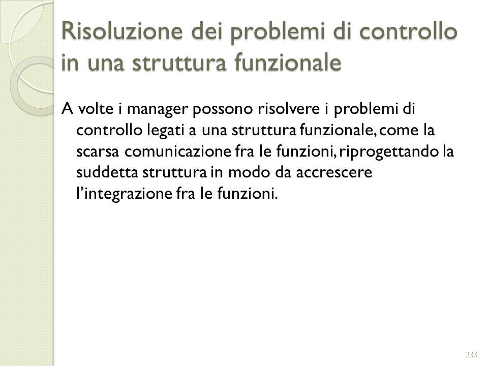 Risoluzione dei problemi di controllo in una struttura funzionale A volte i manager possono risolvere i problemi di controllo legati a una struttura f