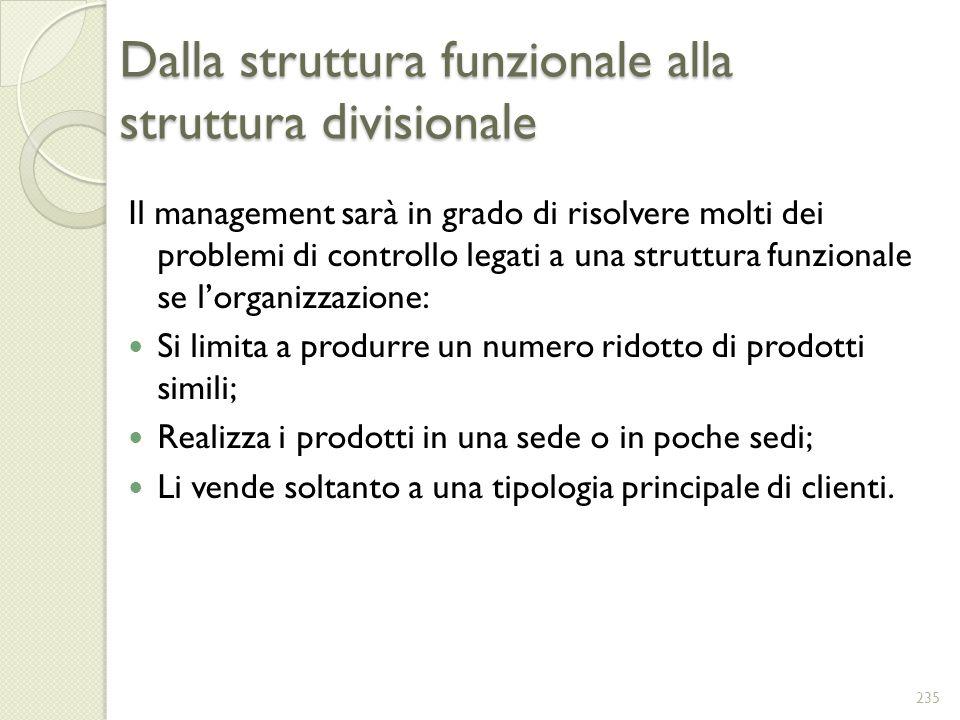 Dalla struttura funzionale alla struttura divisionale Il management sarà in grado di risolvere molti dei problemi di controllo legati a una struttura