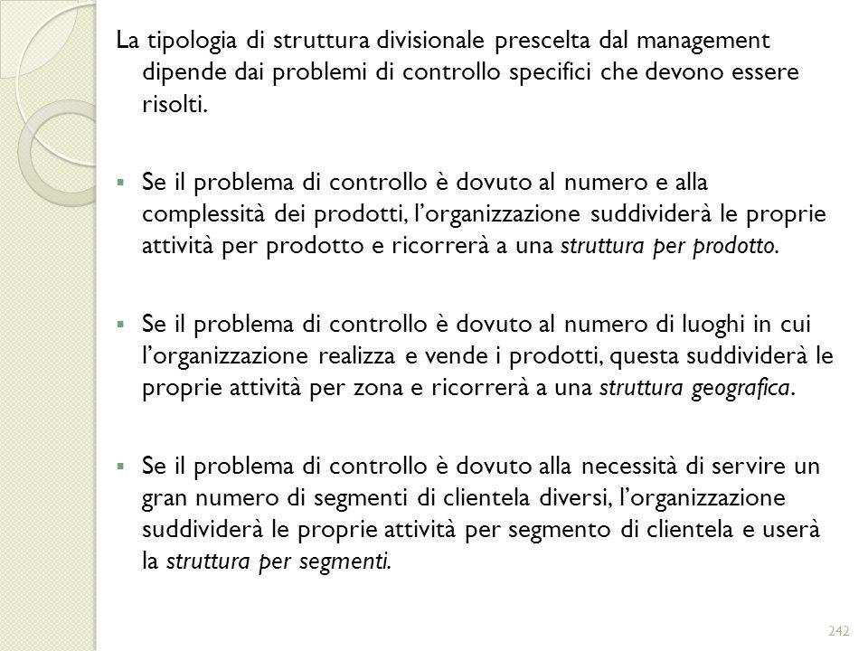 La tipologia di struttura divisionale prescelta dal management dipende dai problemi di controllo specifici che devono essere risolti. Se il problema d