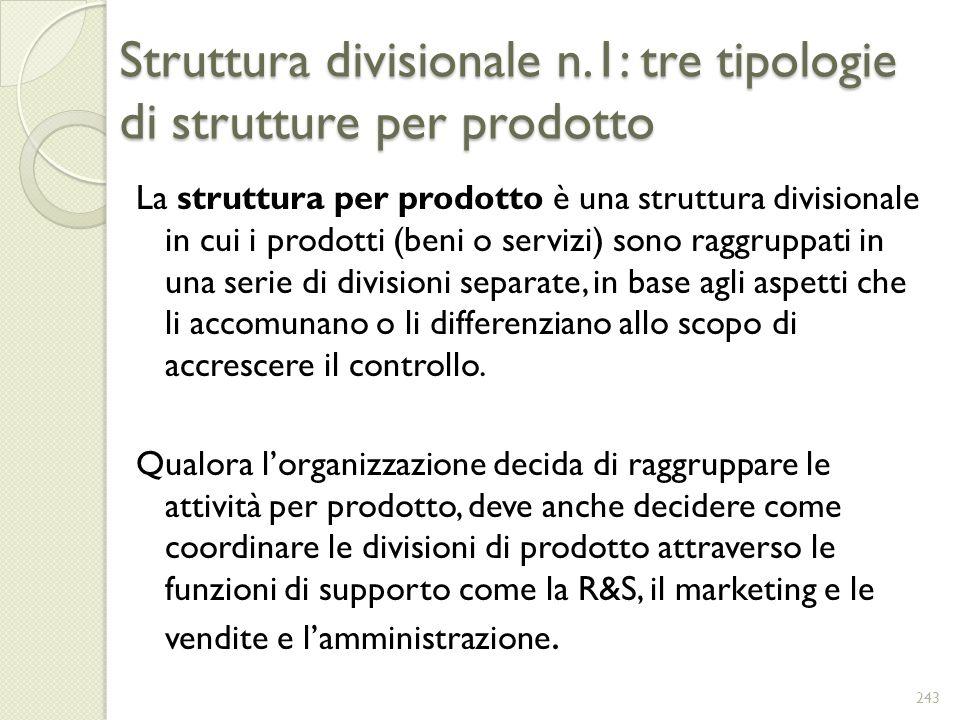Struttura divisionale n.1: tre tipologie di strutture per prodotto La struttura per prodotto è una struttura divisionale in cui i prodotti (beni o ser